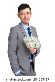 Asian businessman hold with cash