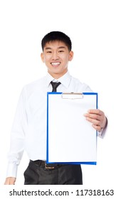 asian businessman holding a blank white board, signboard, clipboard, point finger with to empty bill board with copy space for text, young business man happy smile, isolated over white background