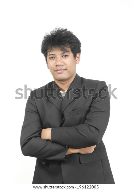 Asian businessman on white studio