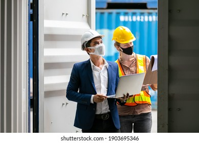 Asian businessman and Professional foreman woman work at Container cargo site check up premium goods in container, business Logistics oversea import export shipping industrial import-export transport.