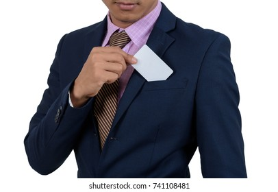 Asian Businessman showing blank card by hand On a white background isolated.