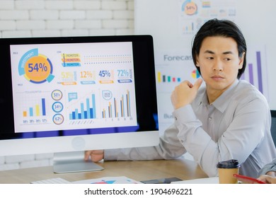 Asian businessman sitting at a desk during a meeting with colleagues in office