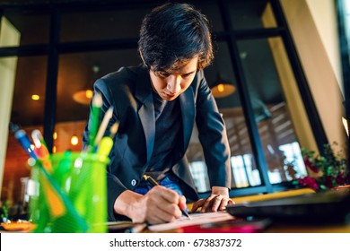asian businessman start up working at home