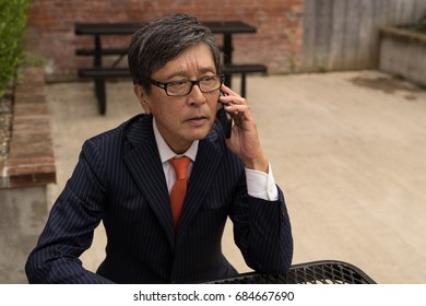 Asian businessman in suit talking on a cell phone