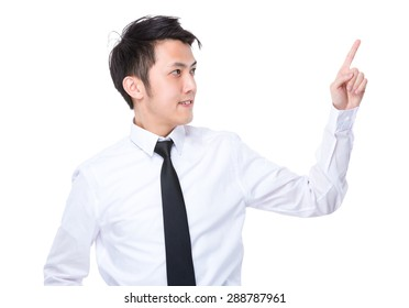 Asian businessman touch on the imaginary panel