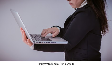 Asian businessman use of laptop computer