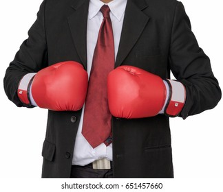Asian businessman wearing boxing gloves to punch isolate on white background.Business Boxing concept.
