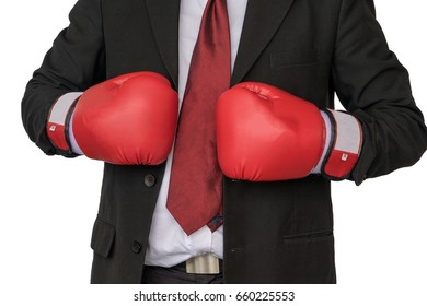 Asian businessman wearing boxing gloves to punch by white background.Business Boxing concept.