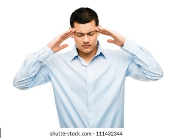 Asian businessman worried suffering from headache isolated on clean white background