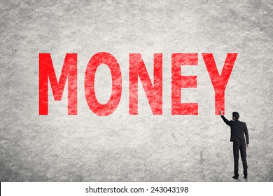 Asian businessman write text on wall, Money