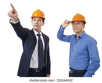 asian businessmen with safety helmet.