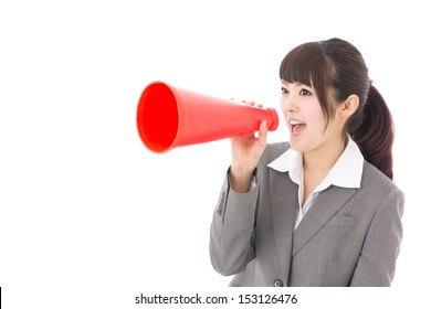 asian businesswoman with megaphone on white background