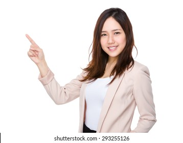 Asian businesswoman with pointer up