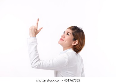 asian businesswoman pointing up