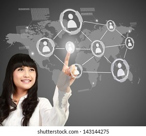 asian Businesswoman pressing button of social networking concept