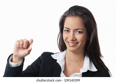 Asian Businesswoman showing medicine on white background