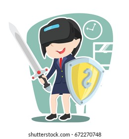 asian businesswoman with vr headset holding shield and sword