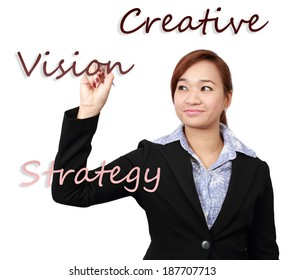 Asian businesswoman write the advertising strategy, isolated