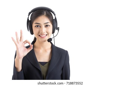 Asian Callcenter Woman smiling, Woman stand and smile, isolated on white background, Woman working concept.