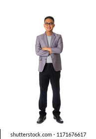 asian casual business male isolated on white background