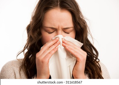 Asian caucasian woman with flu