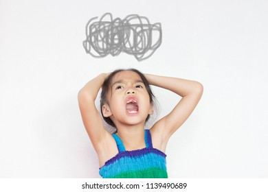 asian child act as she is angry with the tangle gray line on her head on white background
