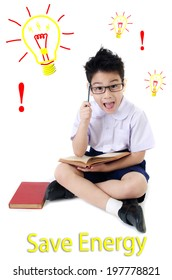 Asian child boy in student's uniform ,Save the world concept isolated background .
