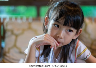Asian child cute girl water absorption