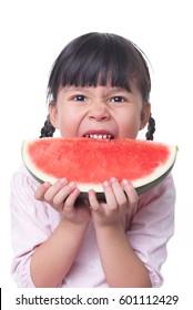 asian child eat watermelon