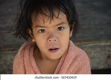 asian child girl  having fun in expressing herself