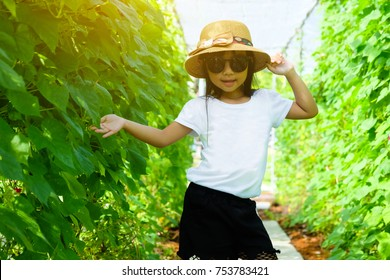 Asian child girl wearing white t-shirt and black shorts with Sunglasses and hats ,Pose Fashion in the garden