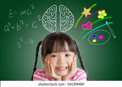asian child rest her chin on her hands and the picture of brain on the blackboard with calculation on the left and art on the right