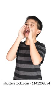 Asian child yelling, screaming, shouting, hand on his mouth, isolated on white background.