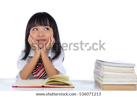asian chinese little girl thinking while の写真素材 今すぐ編集