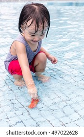 Asian Chinese Little Girls Playing at Outdoor Swimming Pool