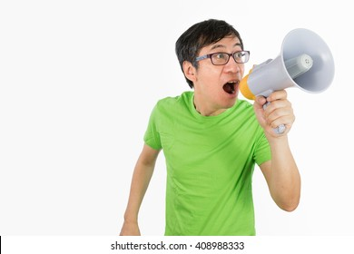 Asian Chinese Man Shouting with a Megaphone in isolated White Background