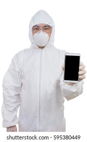 Asian Chinese scientist in protective wear showing mobile phone screen in isolated white background.