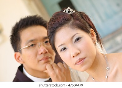 Asian Chinese wedding couple portrait bride and groom