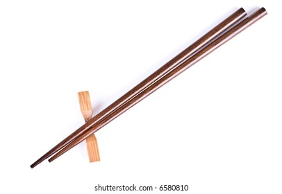 Asian chopstick on the white background.