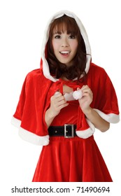 Asian Christmas girl with happy smile expression against white.
