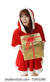 Asian Christmas girl holding gift with happy smiling expression.