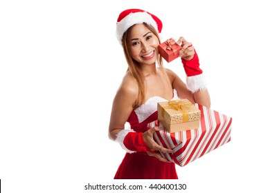 Asian Christmas girl with Santa Claus clothes and  gift box  isolated on white background