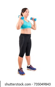 asian chubby woman holding dumbbell for exercising