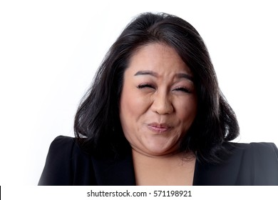 The Asian chubby woman on the white background.