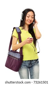 An asian college girl listening to music