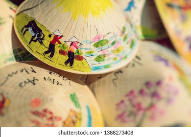 Asian Cone Hat Handicraft. Vietnam Style Cone Hat. Selective Focus.