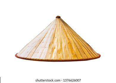 Asian conical straw hat isolated on white background.