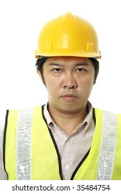Asian construction contractor with blank expression on white background