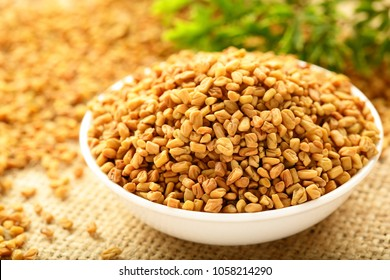 Asian cooking- ingredient in South Asia cuisine. fresh fenugreek seeds,