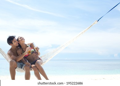 Asian couple at the beach in Boracay in Philippines